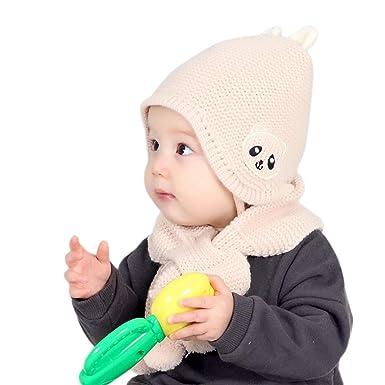 81ab888e0b6 Chapeau Enfant ADESHOP Mode Enfants GarçOn Fille d hiver Chaud Couleur Unie  Chapeau éCharpe BéBé