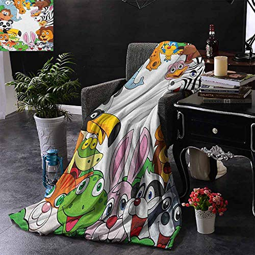 Kenneth Camilla Throw Blanket Nursery,Wild Jungle Animals Tropical Fauna Family Collection Happy Faces in Cartoon Style,Multicolor,All Season Blanket 30