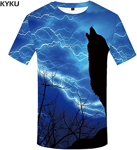 KYKU Marca Lobo Camisa Luna Camisetas Moonlight Camiseta Hombres 3D Camiseta Animal Sexy Camisas Masculinas Japonesa para Hombre Ropa para Hombre tee: Amazon.es: Deportes y aire libre