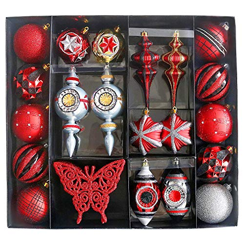 Valery Madelyn 50ct Shatterproof Christmas Balls Ornaments Trendy Red and Black,2.75inch-6.50inch /7CM-16.5CM,50 Pcs Metal Hooks Included,Themed with Tree Skirt(Not Included)