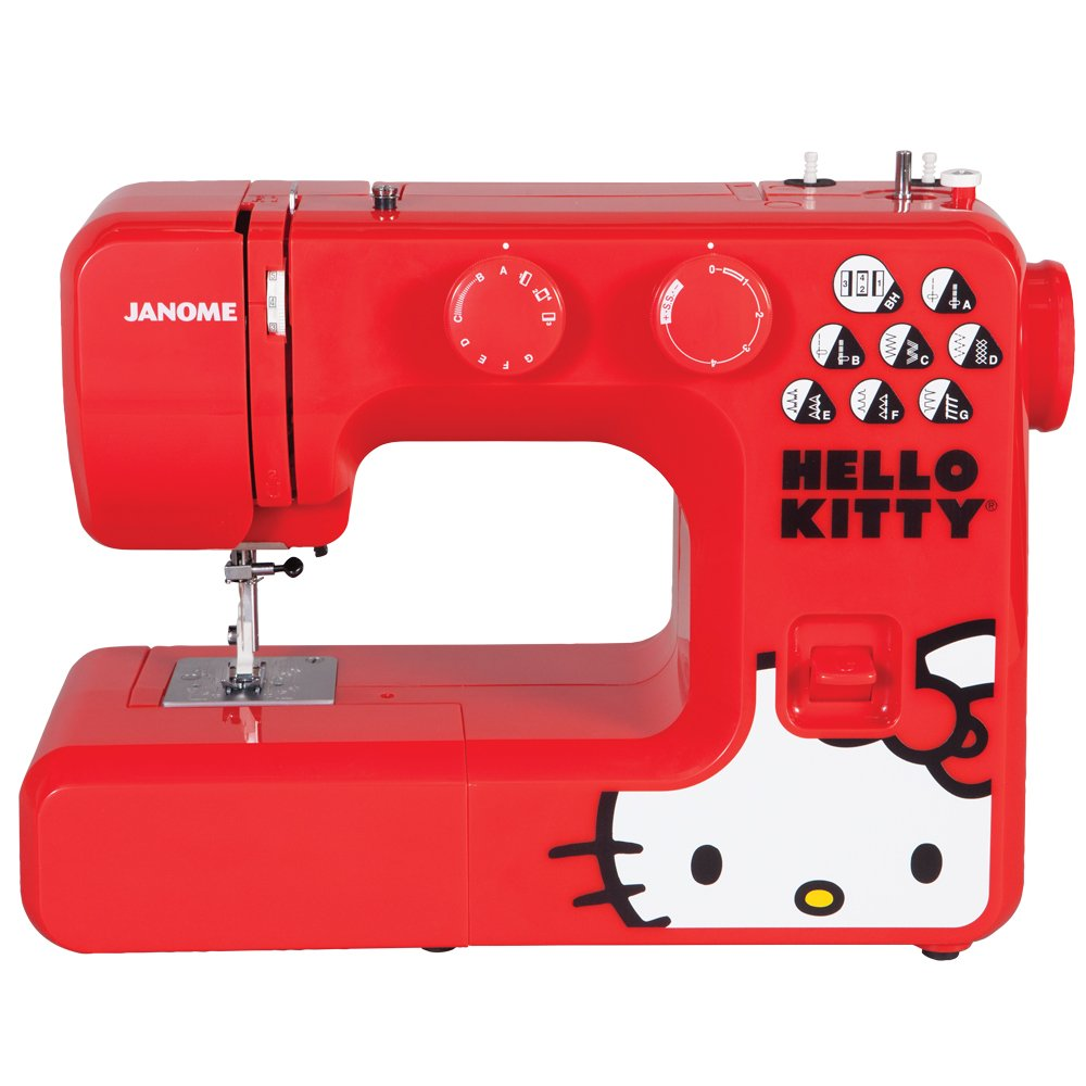 Janome 15312 Hello Kitty Easy-to-Use Sewing Machine with Aluminum Interior Frame, Automatic Needle Threader, 15 Stitches, 4-Step Buttonhole, 3-Piece Feed Dogs and Easy Stitch Selection