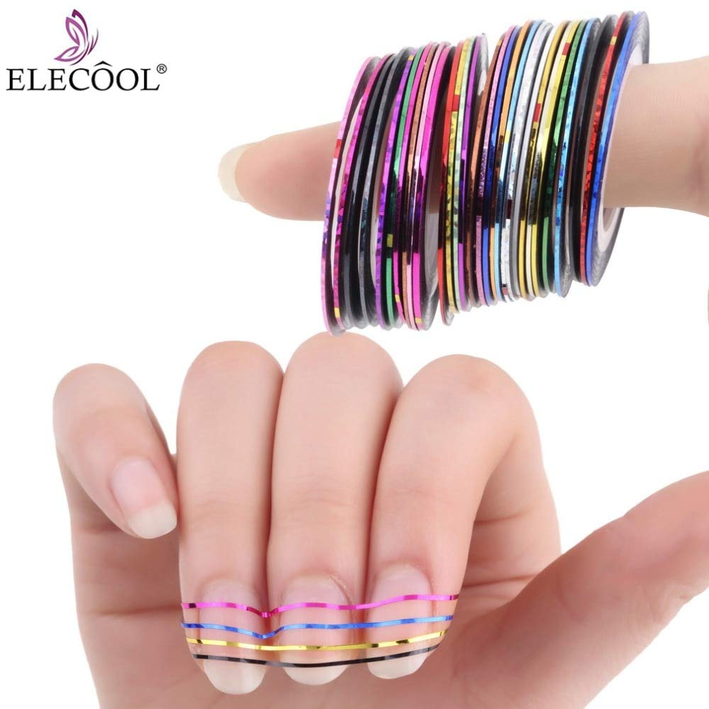 Kamas 30 Colors Mixed Glitter Nail Art Striping Tape Line DIY Manicure Decoration Tools Nail Sticker For Woman Lady - (Ships From: France) by Kamas