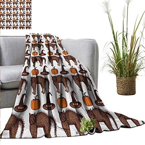 AndyTours Throw Blanket,Halloween,Seasonal Vintage Pattern with Pumpkin Squash Witch Hats and Cat Figures,Brown Orange Green,Sofa Super Soft, Plush, Fuzzy Microfiber Throw Reversible,Comfy 60