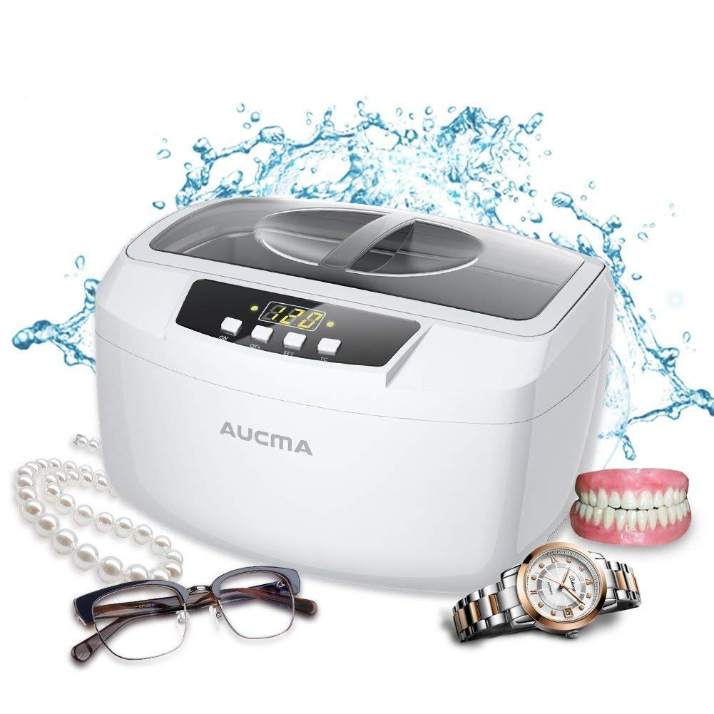 Aucma Ultrasonic Cleaner Professional Industrial 160 Watts 2.5L Heated Ultrasonic Cleaners with Digital Timer for Jewelry Eyeglasses Lenses Necklaces Watches Rings Denture Coins, 2.6Qt/2.5 L (White) by AUCMA