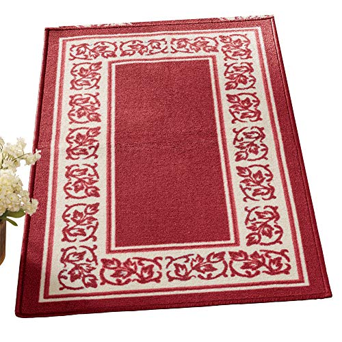 (Collections Etc Floral Border Skid-Resistant Accent Rug, Burgundy, 26 X)