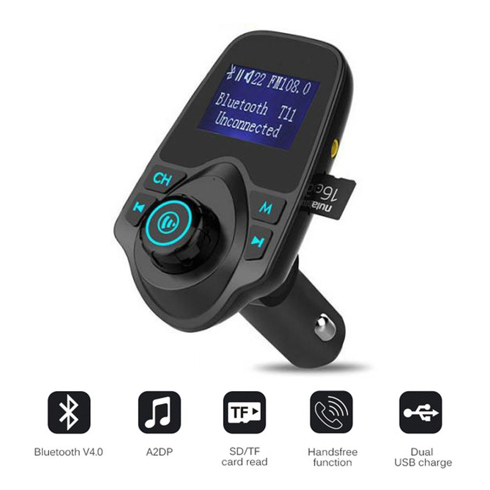 FM Transmitter for Car with Aux Port for iPhone, Wireless in Car Radio transmitter Adapter Hands free Car Kit with Mic & Dual USB Charger for Samsung Galaxy Android Cell Phone
