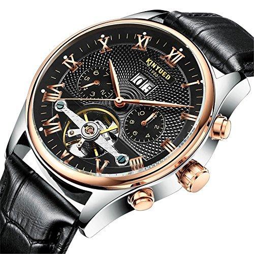 5f5784e94bb5 Moda Lujo Tourbillon Reloj Mecánico Automático Calendario Correa de cuero  Relojes de pulsera para hombres