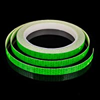 Niome Fluorescent Reflective Tape Safety Equipment Truck Car Bicycle Motorcycle Rim Tape Reflective Wheel Close-Knit Sticker 1cm X 800cm/315inch Green