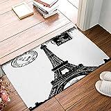 DaringOne Frech Paris Eiffel Tower City of Love Black White Non-Slip Machine Washable Bathroom Kitchen Decor Rug Mat Welcome Doormat 18x30inch