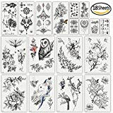 DaLin Sexy Floral Temporary Tattoos for Women Men Black Rose Flowers Collection