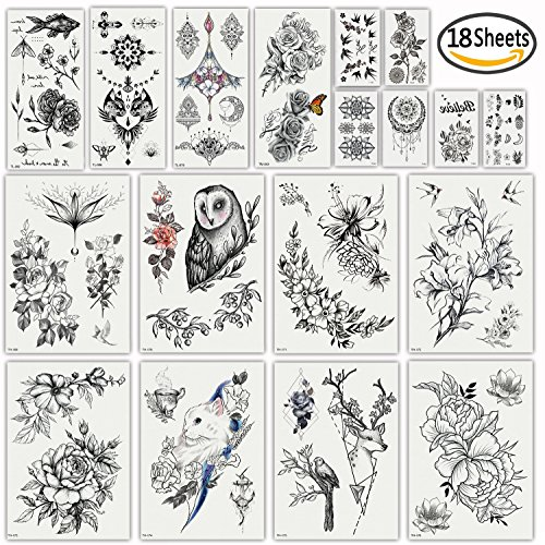 DaLin Sexy Floral Temporary Tattoos for Women Men Black Rose Flowers Collection Floral Collection Rose