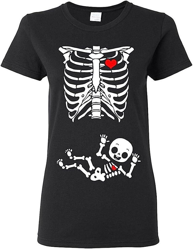 Ladies Baby Boy Skeleton Pregnant (not Maternity) DT Black T-Shirt (Large, Black)