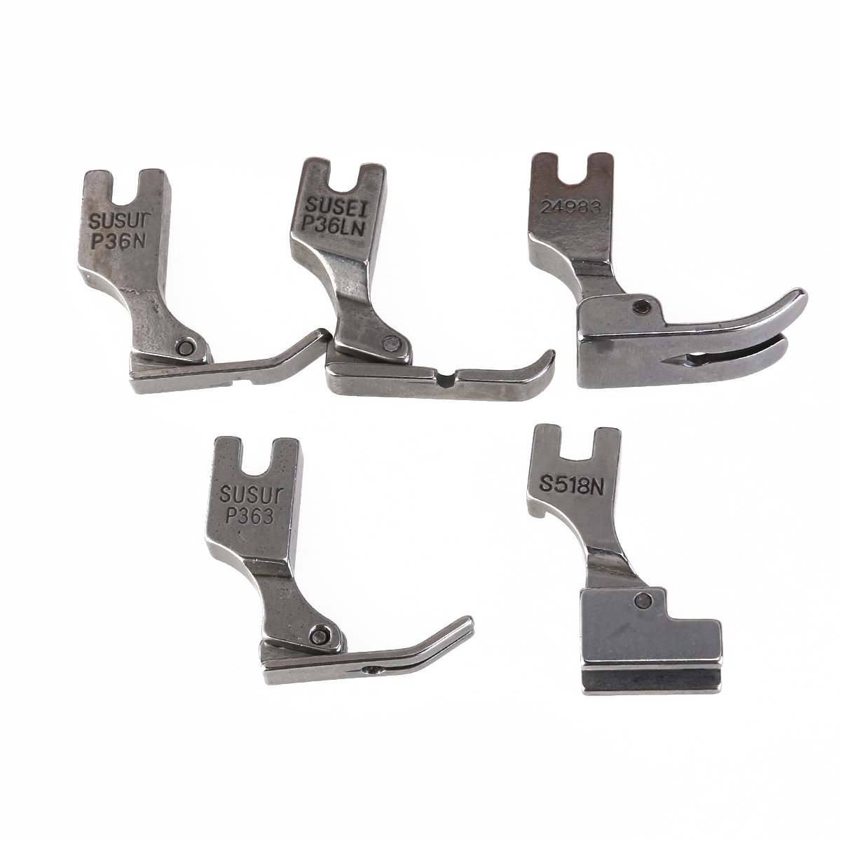 UEETEK 5pcs Piedino industriale Piedi di cucito per industriali Juki macchina per cucire S518NS P36LN P36N P35 P363 (argento)