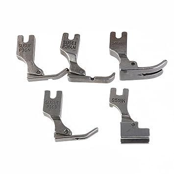 Pixnor Prensatela de 5pcs para máquina de coser de Juki Industrial S518NS P36LN P36N P35 P363 (plata): Amazon.es: Bricolaje y herramientas