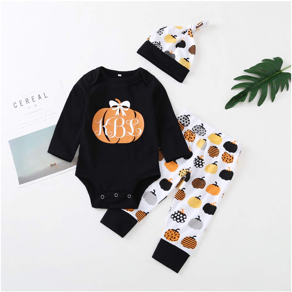 Halloween Newborn Baby Boy Clothes Set Autumn Winter Baby Long Sleeve Harness Child Romper 3 PCS Set
