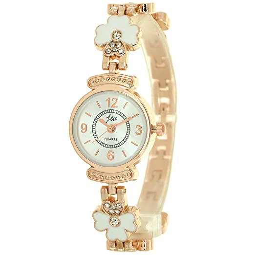 b5ab41f18 Gold Cloisonne Charming Clover Jewelry Chain Quartz Wrist Watch Ladies  Womens Crystal Accented Rose Gold-