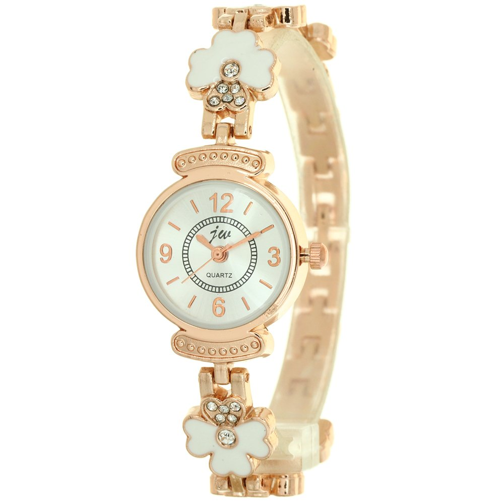 Gold Cloisonne Charming Clover Jewelry Chain Quartz Wrist Watch Ladies Womens Crystal Accented Rose Gold-Tone Charm Bracelet Watch Band Stylish Fashion Girls Mini Size Watches