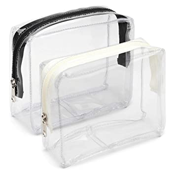 ff8f2fe28745 Clear Toiletry Bag, iSPECLE 2 Pack PVC Clear Cosmetic Bag TSA Approved  Travel Luggage Pouch Carry...