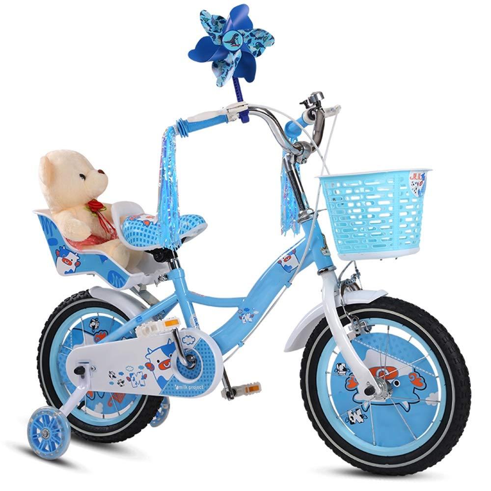 Axdwfd 子ども用自転車 キッズバイク自転車のトレーニングホイール12/14/16/18/20インチ男の子と女の子のための子供に適したサイクリング6-11ピンクブルー 14in 青 B07PCR4VJL