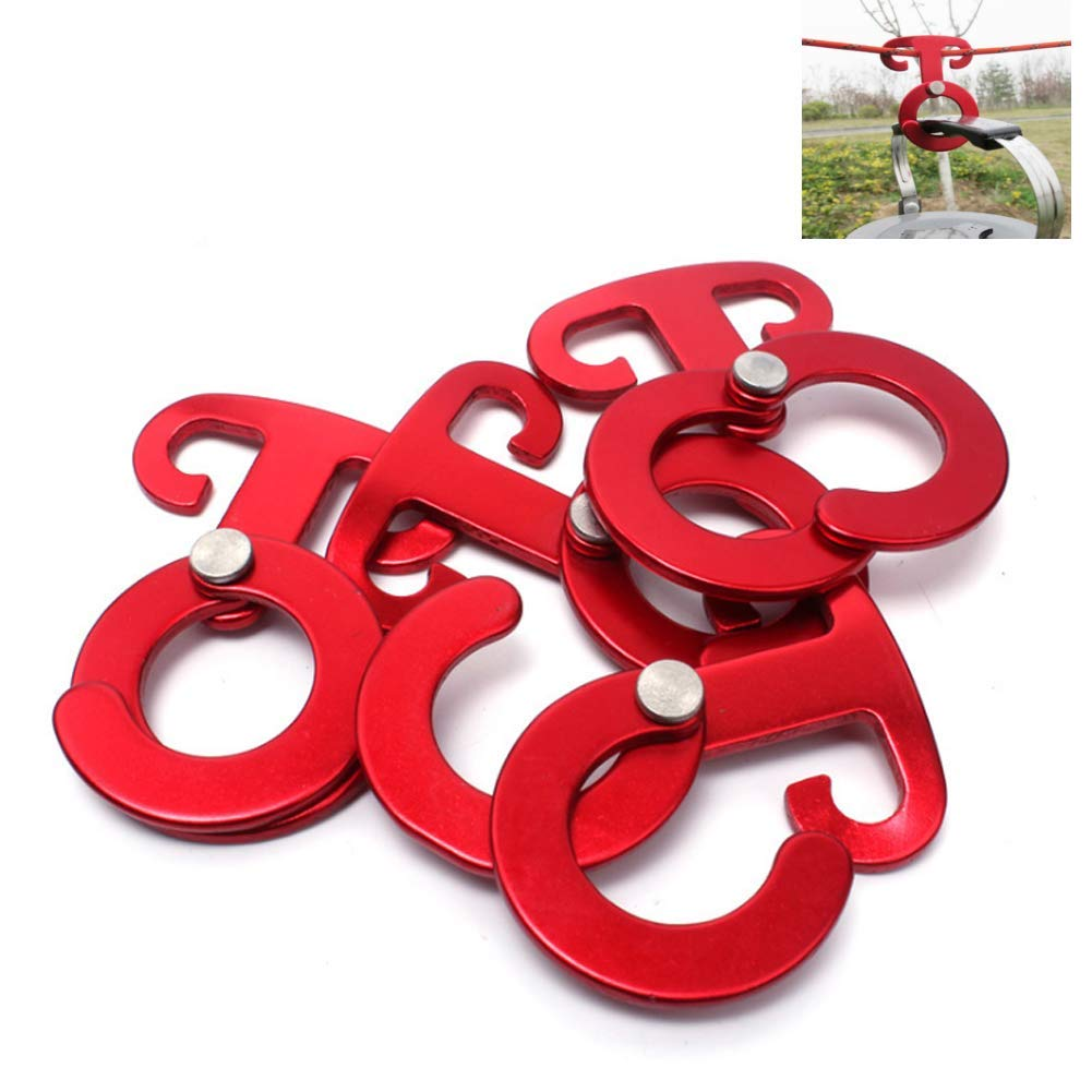 4Pcs Aluminum Alloy Guyline Cord Adjuster Fixed Antiskid Open Hooks Self-Lock Hook Buckle Rope Hangers Travel Accessories for Tent Camping Hiking Outdoor Activity (Red)