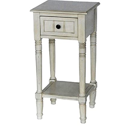 Merveilleux Antique White Vintage Shabby Chic Inspired Simplify One Drawer Square  Accent Table, Dimensions 14x14x28