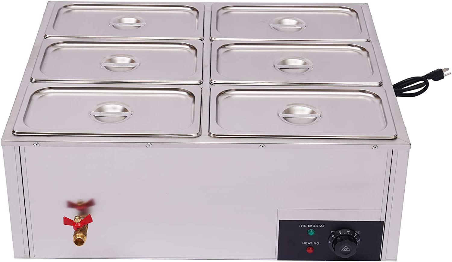 Electric Food Warmer, 850W Commercial 6 Pan Stainless Steel Buffet Server Heater Trays Hot Plate Food Warmer Table Steamer with 6 Lids for Catering and Restaurants
