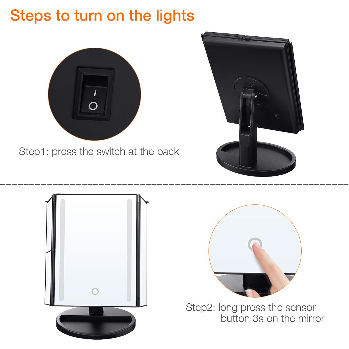 LEPO LED Makeup Mirror, Makeup Vanity Mirror with 1X/2X/3X/10X Magnification, Cosmetic Mirror with 24 LED Lights, 180 Degree Adjustable Rotation (Black) by LEPO (Image #5)