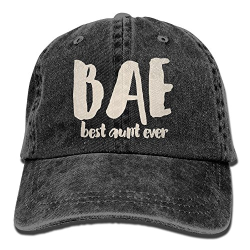 E-Isabel Bae Best Aunt Ever Adjustable Ball Cotton Washed Denim Caps Black - Letters Only Ball Cap