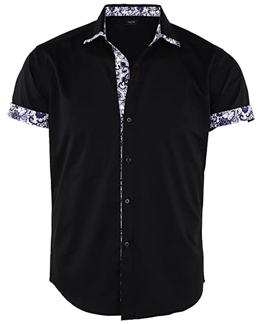 official site cute new styles JEETOO Men's Floral Short Sleeve Print Button Down Summer Casual Dress Shirt