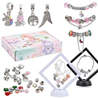 40 Pcs DIY Crafts for Girls 8 9 10 11 12, Bead Pendant Bracelet Necklace Display Case with Gift Box Jewelry Craft Supplies Birthday Christmas Gift Set for Kids Girls Teens Woman