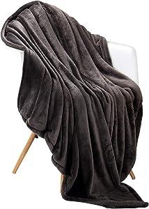 "Panku Flannel Fleece Blanket Soft Throw Blanket Super Warm Lightweight Blanket-Dark Grey, Queen(90""x92"")"