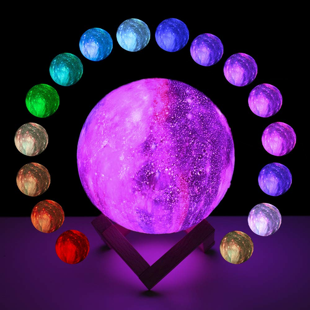 BRIGHTWORLD Moon Lamp, 3D Moon Light with Wooden Stand Rechargeable Moon Lamp Night Light Lamp 16 LED Colors Remote Touch Control Dimmable Decorative Moon Light for Baby Kids Birthday Party (5.9 inch) by BRIGHTWORLD (Image #7)