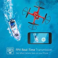 Holy Stone HS200D FPV RC Drone with 720P Camera 120°FOV Live Video WiFi Quadcopter for Beginners and Kids RTF RC Helicopter with Altitude Hold Headless Mode 3D Flips One Key Take-Off/Landing Color Red by Holy Stone