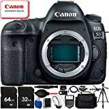 "Canon EOS 5D Mark IV DSLR Camera (Body Only) - 16PC Accessory Bundle Includes 32GB & 64GB SD Memory Card + 72"" Full-Size Tripod + Carrying Case + HDMI Cable + MORE"