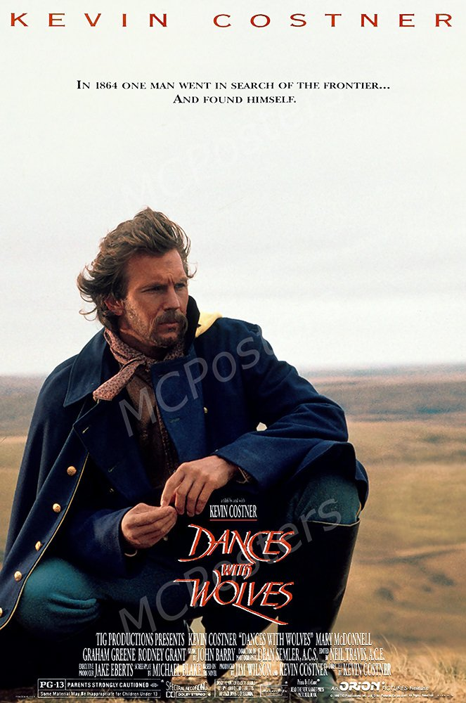 MCPosters Dances with Wolves Kevin Costner GLOSSY FINISH Movie Poster - MCP173 (24'' x 36'' (61cm x 91.5cm))