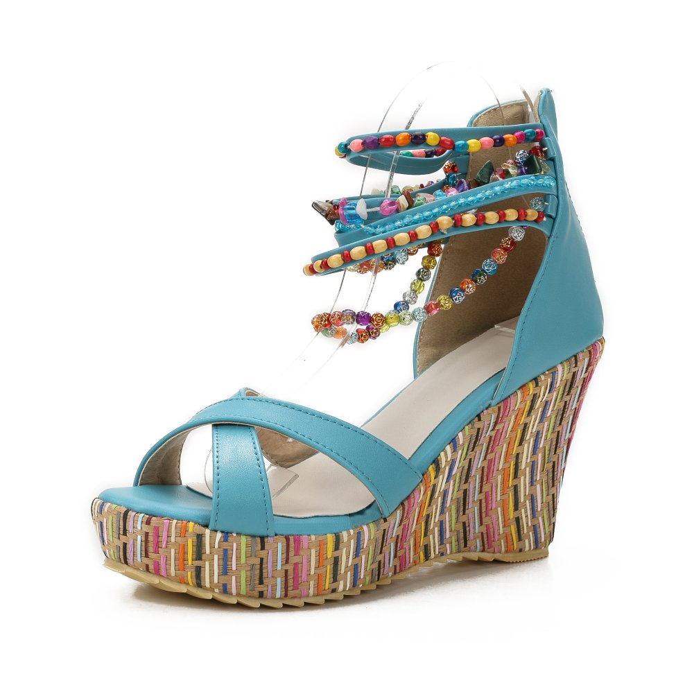 MAIERNISI JESSI Women's Colorful Bohemian Style Wedge Heel Beaded Sandals Blue 39 - US 8
