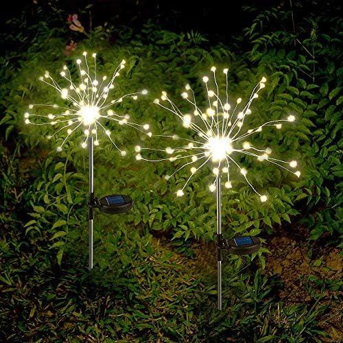 Sunboia Luces solares de Fuegos Artificiales, 2x120Leds Luces ...