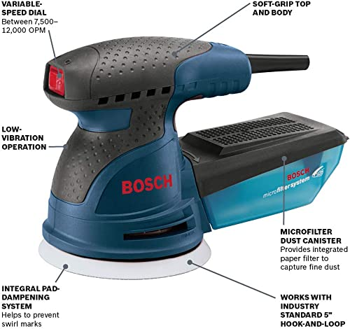 Bosch ROS20VSC Palm Sander – 2.5 Amp 5 in. Corded Variable Speed Random Orbital Sander Polisher Kit with Dust Collector and Soft Carrying Bag