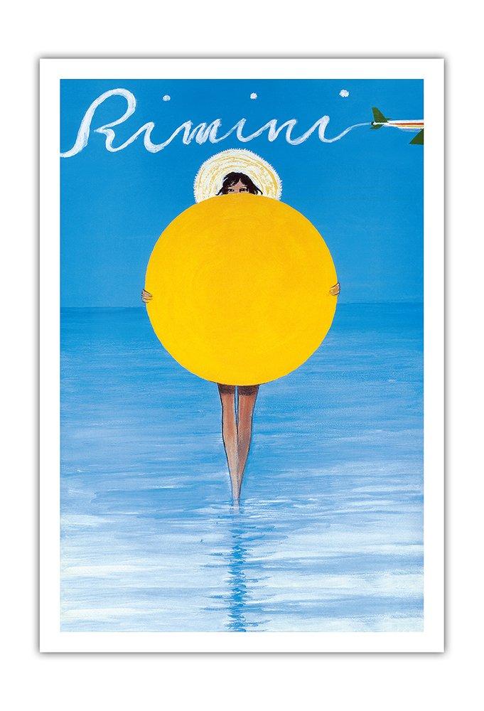 リミニ、イタリア ビーチパラソルとイタリア人の女の子 ビンテージな世界旅行のポスター によって作成された ルネグリュオ c.1990 キャンバスアート 28cm x 36cm キャンバスアート(ロール) B01LYTF5D9 28cm x 36cm キャンバスアート(ロール) 28cm x 36cm キャンバスアート(ロール)