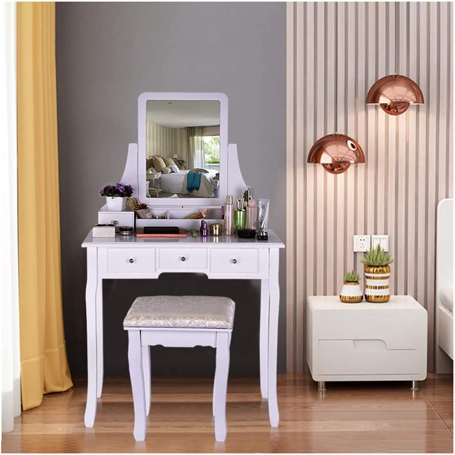Lumumi Vanity Set with Mirror /& Cushioned Stool Dressing Table Vanity Makeup Table 5 Drawers 2 Dividers Movable Organizers White