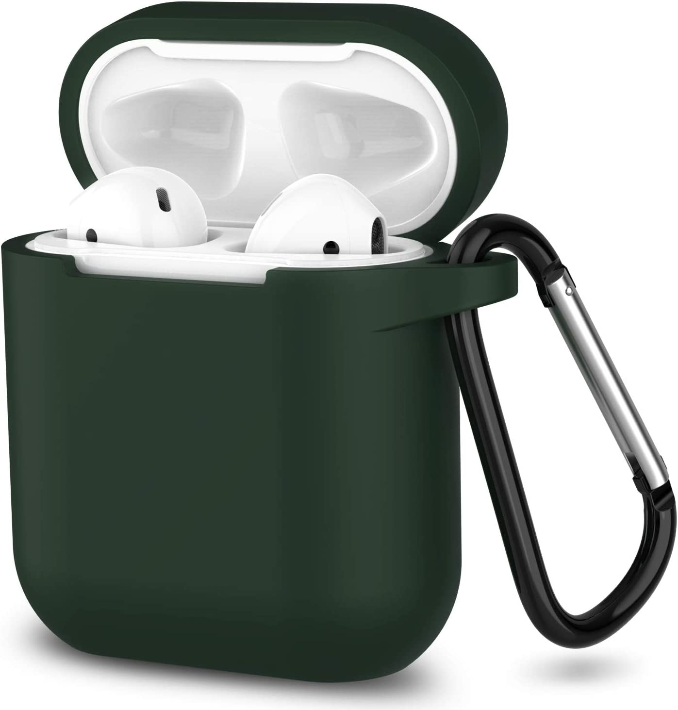 AirPods Case,SATLITOG Protective Silicone Cover Compatible with Apple AirPods 2 and 1(Not for Wireless Charging Case)(Dark Green)