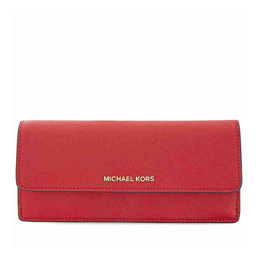 Michael Kors Flat Jet Set Travel Wallet- Bright Red by Michael Kors