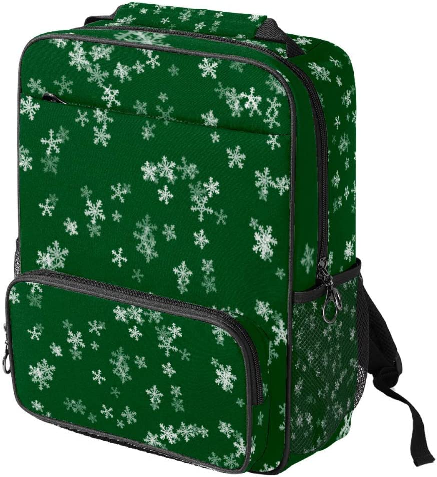 Casual School Backpack Template Winter Christmas Xmas Green Print Laptop Rucksack Multi-Functional Daypack Book Satchel