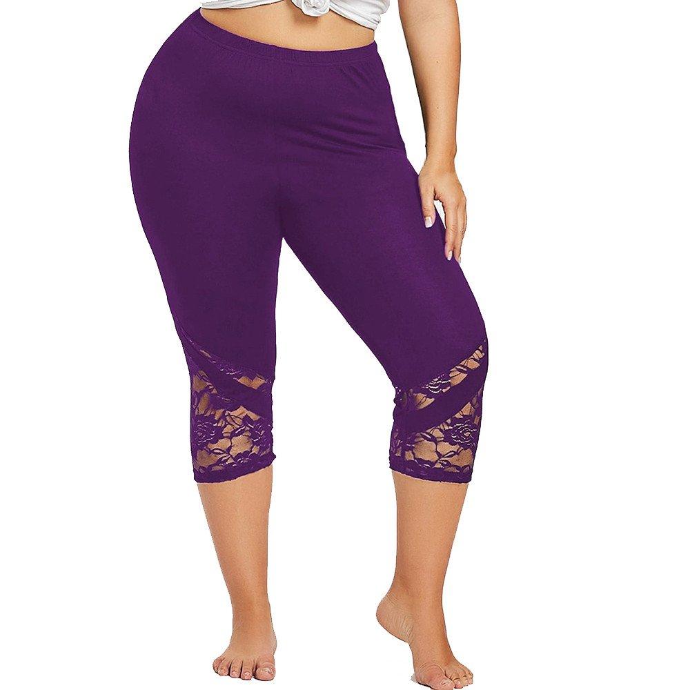 BOLUOYI Funny Yoga Pants for Women,Women's Yoga Leggings,Fashion Women Lace Plus Size Skinny Pants Yoga Sport Pants Leggings Trousers,Purple,XXXXL
