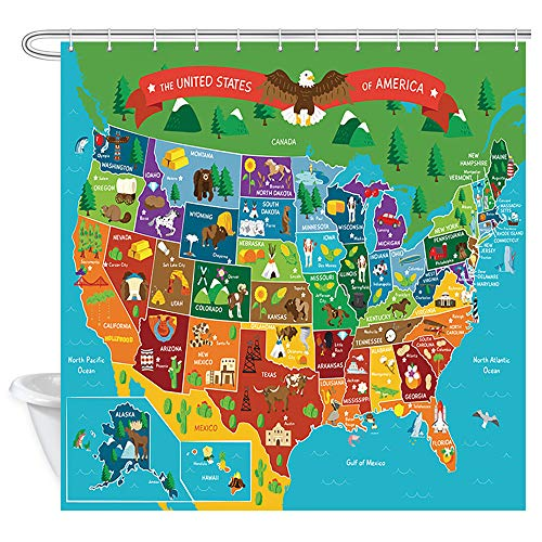 JAWO Kids Cartoon United States Map Shower Curtain for Bathroom, Children's Fun Facts Geography USA Map Profession Waterproof Polyester Fabric Bath Curtains Decor with 12PCS Hooks 69X70 Inches
