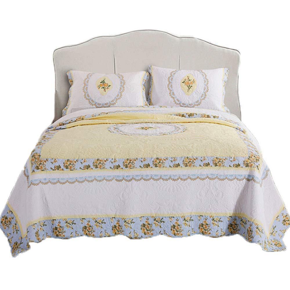 綿100% サマーキルト3点セット 欧米式 水洗い 手作り ベッドスプレット 夏用 ベッドカバー サマーキルト キルト 枕カバー230*230cm 四季通用 B07Q2PHRXH