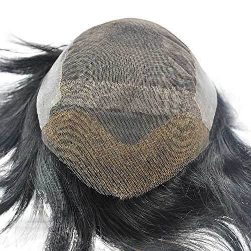 Ready Made Jet Black Toupee Hairpiece for Men Human Hair Replacement Mens Hairpiece by Suncolor Hair