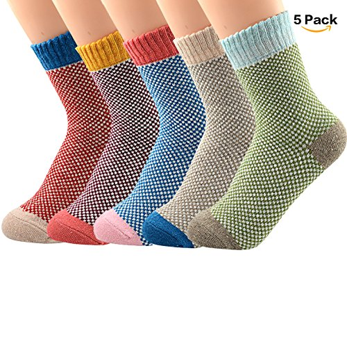 American Trends Women's Winter Thick Warm Casual Crew Socks Cute Animal Vintage Style Wool Knitting Sock 5 Pair Dense point (Gift Delivery Portland)