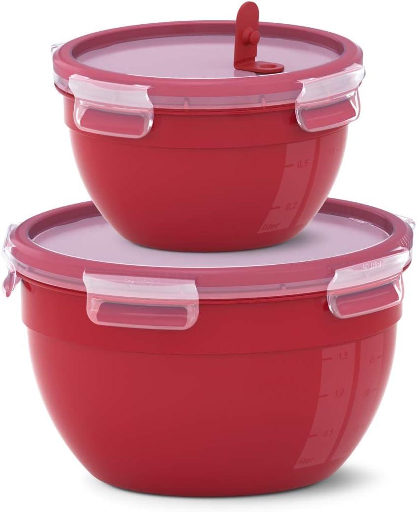 Caja Redonda Emsa Clip Micro N1060700 127 Color Rojo 2 Unidades, 1,1 + 2,6 L