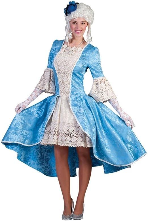 Barock Vintage Dose Deckeldose Mädchen mit Rokoko Kleid blau und Hund 31cm NEU